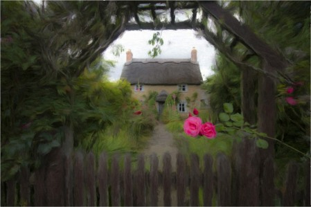 rose-cottage-oil-painting-effect