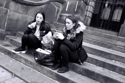 Lunching on the Steps